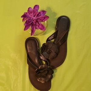 Merona black leather slides